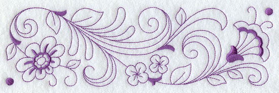 Redwork flower border machine embroidery design.