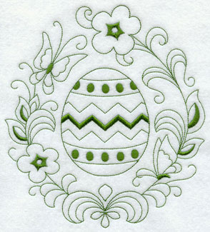 A decorated Easter egg in Redwork.