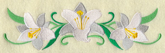 A border design of white lilies.