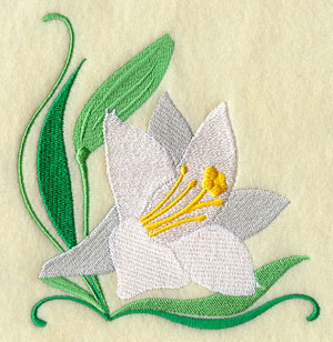 A white lily corner machine embroidery design.