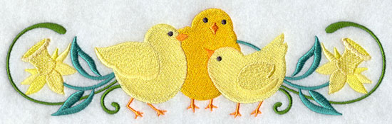 A spring daffodil and chick border design.