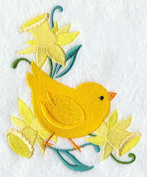 A daffodil and chick border.