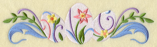 A decorated Easter egg border design.