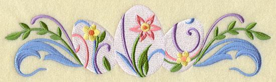 A decorated Easter egg border design.