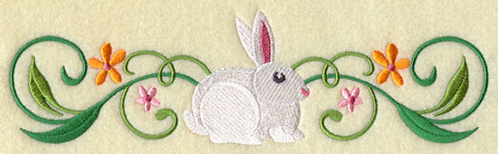 A white bunny rabbit and flowers border design.