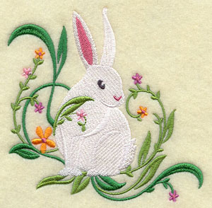 A white bunny rabbit and flowers corner design.