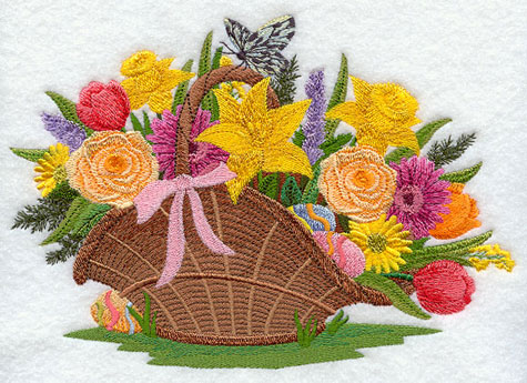 Spring flowers and Easter eggs in basket design.