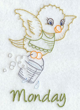 Monday is a chick with a sudsy bucket in a machine embroidery days of the week design.