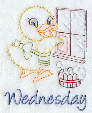 A duckling washes windows in a quick stitching days of the week Wednesday machine embroidery design.