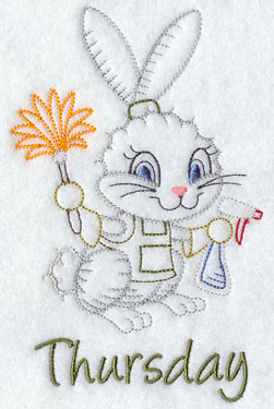 A dusting bunny decorates a Thursday day of the week vintage machine embroidery design.