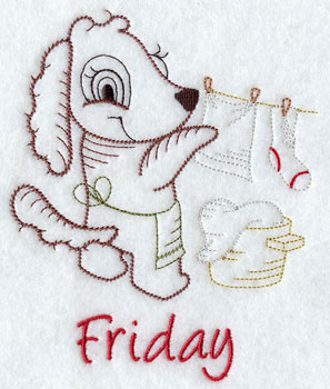 Friday day of the week design with a puppy hanging the wash machine embroidery design.