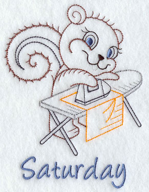 Light-stitching vintage days of the week machine embroidery design with an ironing squirrel.