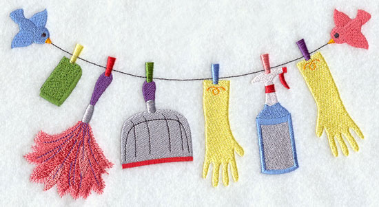 Spring cleaning tools hang from a clothesline machine embroidery design.