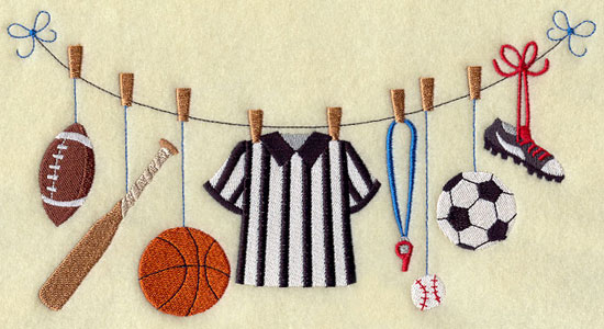 Sports gear including a football, baseball and bat, basketball, soccer ball, and more hang from a clothesline.
