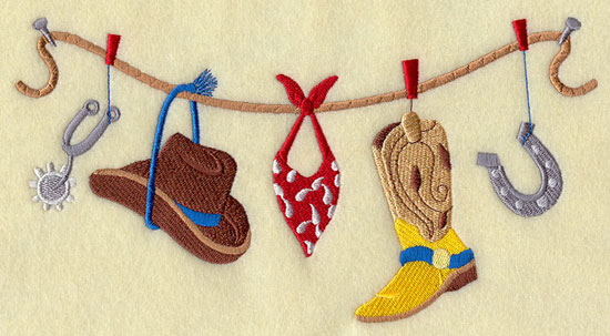 A rope holds rodeo gear, including spurs, a cowboy hat, a bandana, and boots.