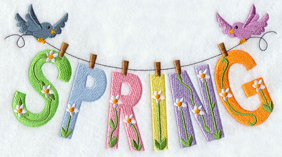 Flower decorated letters spell spring.