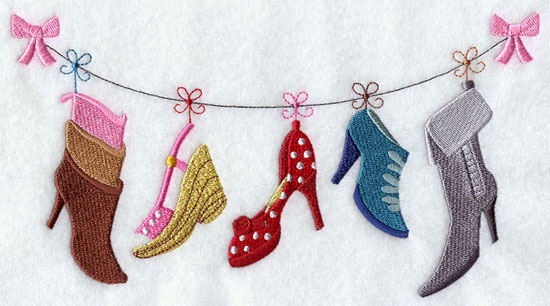 Fashion heels hanging from a clothesline machine embroidery design.