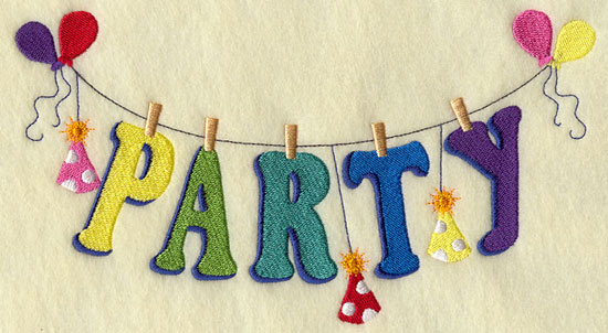 The word party and balloons and party hats hang from a clothesline in a machine embroidery design.