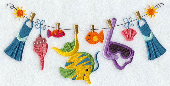 Scuba fins, snorkel, goggles, and fish hang from a clothesline in a machine embroidery design.