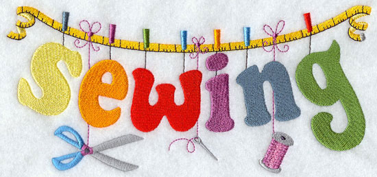 The word Sewing is spelled out with each letter hanging from a measuring tape.