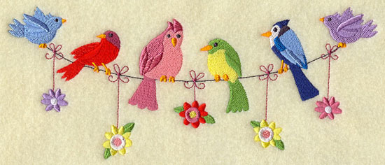 Birds and flowers on a clothesline machine embroidery design.