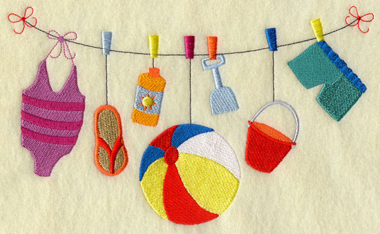 Beach gear including a bathing suit, sunscreen, and sand shovel on a clothesline in a machine embroidery design.