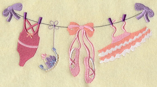Ribbons hold a ballet leotard, tutu, slippers, and tiara in a lovely machine embroidery design.