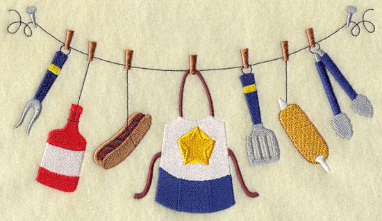 Grilling attire and implements on a clothesline machine embroidery design.