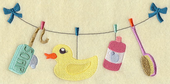 Clothesline holding a rubber duck, soap, scrub brush, and bubbles machine embroidery design.