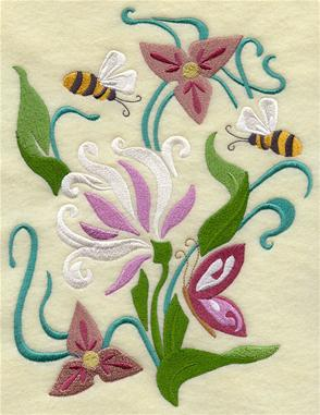 An Art Nouveau machine embroidery design with spring flowers and bumblebees.