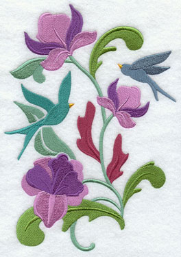 Bluebirds float in the flowers in a beautiful Art Nouvea spring design.