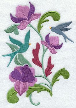 Bluebirds float in the flowers in a beautiful Art Nouvea spring design.