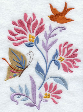 A butterfly and a bird welcome spring in an Art Nouveau floral machine embroidery design.
