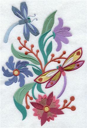 Dragonflies and flowers decorate an Art Nouvea spring design.