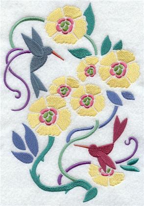 Hummingbirds and flowers decorate an Art Nouvea spring design.