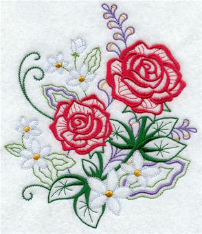 Roses bloom against lightly stitched flowers and leaves.