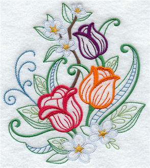 A springtime bouquet of tulips machine embroidery design.