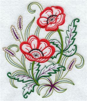 Poppies in a spring bouquet machine embroidery design.
