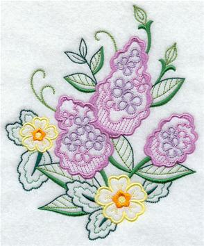 Lilacs machine embroidery design.