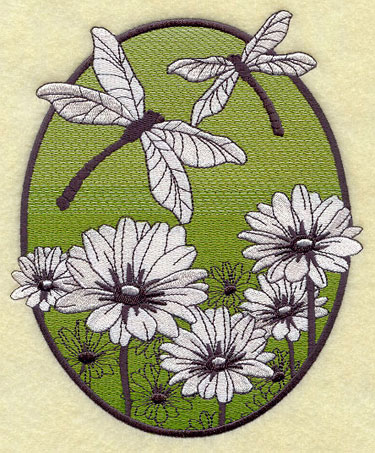 A spring oval machine embroidery design with black and white flowers and dragonflies against a lightly colored backdrop.