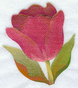 A lightly shaded tulip machine embroidery design.