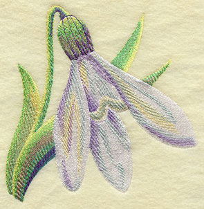 A blooming snowdrop machine embroidery design.
