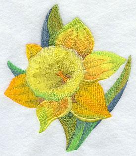 A daffodil flower machine embroidery design.