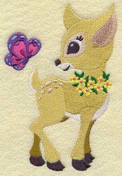 A fawn in a flower wreath frolics with a butterfly machine embroidery design.