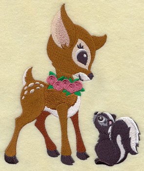 A baby deer plays with a skunk machine embroidery design.
