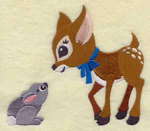 A fawn says hello to a bunny rabbit machine embroidery design.