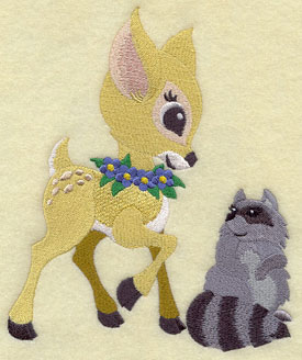 A raccoon and a deer frolic together machine embroidery design.
