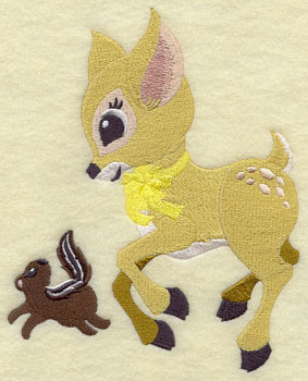 A deer and a chipmunk frolic in the woods machine embroidery design.