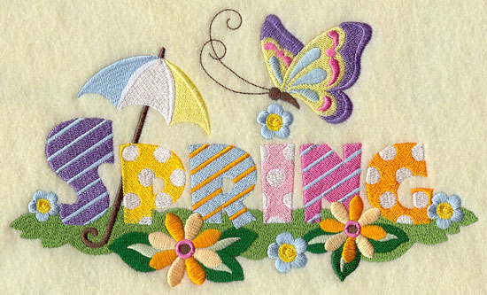 An umbrella, a butterfly, and flowers decorate the word spring in a machine embroidery design.