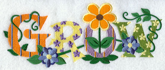 The word 'grow' is made of patterned letters covered with flowers and leaves.
